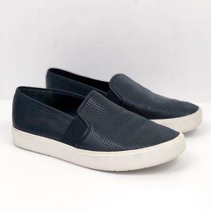 VINCE Black Perforated Slip On Sneakers